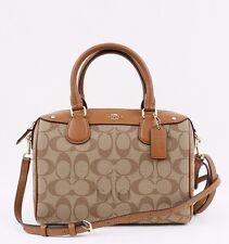 Coach Signature Mini Bennett Satchel Crossbody Bag Handbag F36702 Khaki Saddle