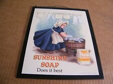 "9x11"" Retro  Country Wood SUNSHINE SOAP Laundry Room Wall Art Decor Sign"