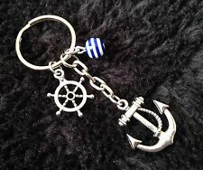 Silver Tone Anchor Keyring / Bag Charm, Boat Wheel, Nautical, rockabilly, Gift