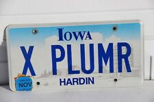 Iowa License Plate vanity plate X PLUMR  vintage personalized 2012
