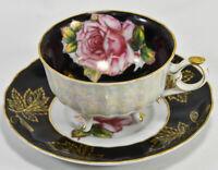 Vintage, Striking Royal Halsey Lipper & Mann Rose Floral Footed Tea Cup & Saucer