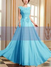Long Chiffon Lace Evening Formal Party Ball Gown Prom Bridesmaid Dress Size 6~24