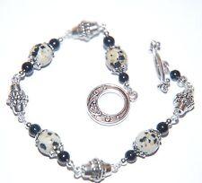 DALMATIAN JASPER & Black AGATE Gemstone & Silver Bracelet ~ Black White Toggle