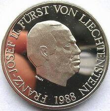 Liechtenstein 1988 Franz Josef II 10 Frank Silver Coin,Proof