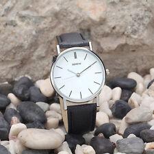 Ladies Fashion Silver Geneve Quartz White Faced Black Band Wrist Watch.(Aussie)