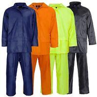 Mens PVC Rainwear Adults Overall Hooded Rainsuit Waterproof Quality Workwear