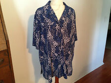 NOTATIONS Woman Blue Gray Short Sleeve Button Collared Blouse Size 20W