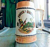 "Ceramic Mug Souvenir Mexico ""South of the Border"" Gold Made in Japan Vintage"