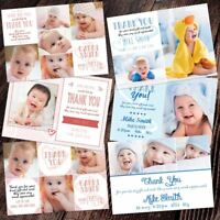 Baby Kids Christmas Photo Thank You Cards Personalised Boy Girl Twins