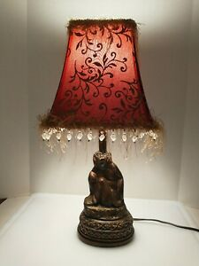 "19"" Vintage Style Beaded Shade Monkey Desk Table Lamp"