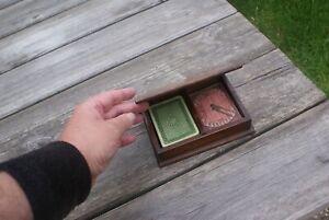 Vintage Wooden Box with Goodall & Sons Cards & Bezique Markers De La Rue