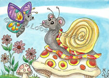 Mouse Butterfly snail Garden mollusk aceo EBSQ Kim Loberg Mini Art mushroom mice