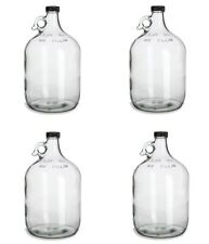 4 NEW GLASS 1 GALLON JUGS w/CAPS FOR HOMEBREWING BEER WINE MAKING KITS MOONSHINE