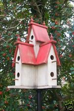 Large Wooden PRIMITIVE VICTORIAN BIRDHOUSE-RED-2017-388R-AUG