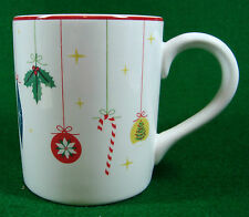 "Holiday Mug Christmas Ornament Design Ceramic Dark Red Trim MSE 4"" Tall    (919)"