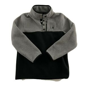 Spyder Long Sleeve Pullover Fleece Snap Button Synchilla Jacket Youth S Gray