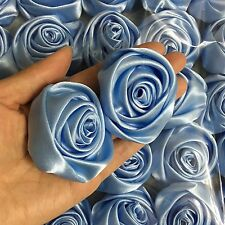 "12PC Light Blue 2"" Satin Ribbon Rose Flowers DIY Wedding Bridal Bouquet 50mm"