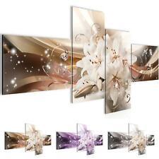 Wandbilder Set 3D Blumen Lilien - Wohnzimmer Deko XXL - Bild Modern Kunstdruck