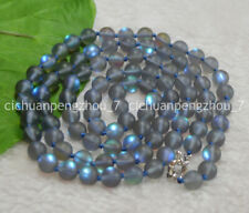 """Natural 8mm Gray Gleamy Rainbow Moonstone Round Gems Beads Necklaces 16-64"""""""