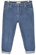 Ladies Topshop MOM High Waisted DARK BLUE Tapered Crop Jeans Size 16 W34 L32