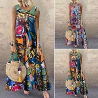 ZANZEA Retro Womens Sleeveless Floral Summer Sundress Kaftan Maxi Long Dress
