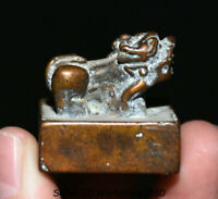 """1.2"""" Old Chinese Bronze Dynasty Animal Pixiu Beast Imperial Seal Stamp Signet"""