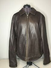 J.Park Collection Men's Leather Jacket Brown Extra Large Bomber Style