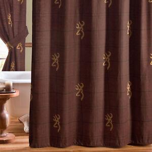 "Browning Burgundy Buckmark Fabric Shower Curtain Plaid 72"" x 72"" Rustic Cottage"
