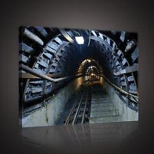 CANVAS Wandbild Leinwandbild TUNNEL 3D LICHT Bergwerk Eisenbahngleise 3FX10614O1