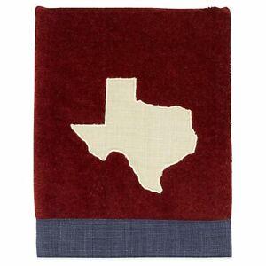 Avanti Texas Map Brick Red Embroidered Bathroom Bath Hand Towel w/ Denim Border