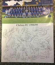 Chelsea Fc 1998/99 Signed Team Poster. 10x8