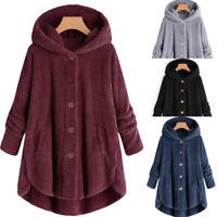 Women Winter Warm Fluffy Coat Overcoat Button Jacket Top Outwear Loose SweaterUS