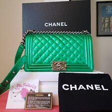 $5,000 Chanel Medium green Patent Leather silver HW boy bag