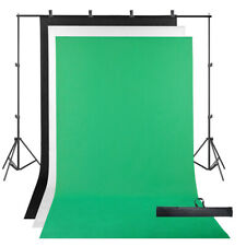 3 Backdrop 2x2m Stand Black White Green Photography Screen Muslin Background Kit