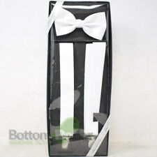 Luther Pike Men's Tuxedo Bow Tie & Y-Back Suspenders Gift Box White