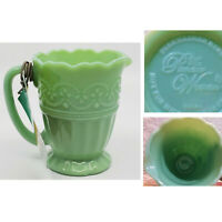 NEW Pioneer Woman Timeless Beauty Jadeite Milk Glass Embossed Creamer Pitcher