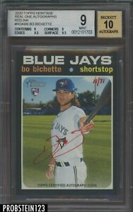 2020 Topps Heritage Real One Bo Bichette RC Red Ink AUTO JERSEY # 11/71 BGS 9