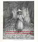 Fairy Ring Girl Surrounded by Pixies Kate Greenaway, Large 1880s Antique Print