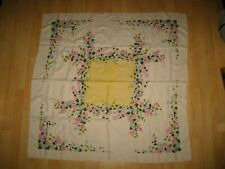 "Linen Mid Century Floral 50"" Square Tablecloth - Vintage 1960's White Pink Blue"