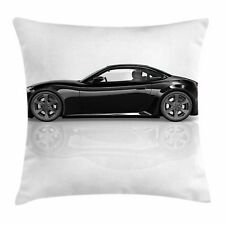 Cars Throw Pillow Case Sports Car in Black Color Square Cushion Cover 24 Inches