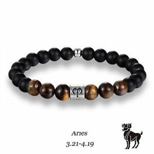 12 Zodiac Constellation Horoscope Signs Bracelet Tiger Eye Stone Beads Bracelets