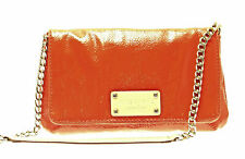 New KATE SPADE Orang Crinkled Patent Leather Mini Flap Shoulder Bag Clutch Chain