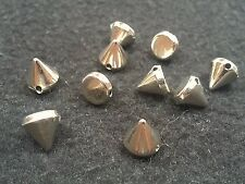 CCB Style Acrylic Cone Beads, Qty 12 -  Nickel, 10x10mm,  Hole: 2mm