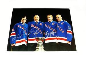New York Rangers Triple signed 11x14 photo