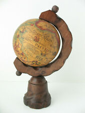 "Vintage Desk Mini World Globe Latin 10.5"" Small Carved Wood Base Spain Spanish"