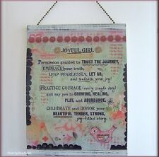 JOYFUL GIRL MESSAGE WALL PLAQUE AND PEG EASEL BY KELLY RAE ROBERTS FREE U.S.SHIP