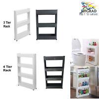 Slide Out Storage Tower Folding 3/4 Tier Rolling Castor Kitchen Trolley Rack UK