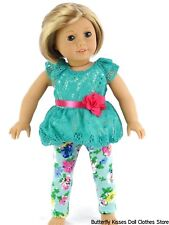 Lacy Bubble Blouse + Flower Leggings 18 in Doll Clothes Fits American Girl