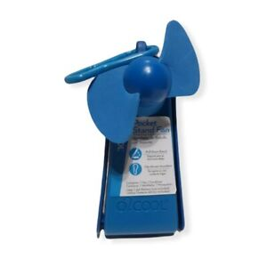 O2COOL Pocket Stand Fan Personal Size Hand Held Blue Travel School Sports Purse