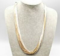 "Vtg Sterling Silver Liquid Bead Necklace Chain 50 Strand 24"" Long Southwestern"